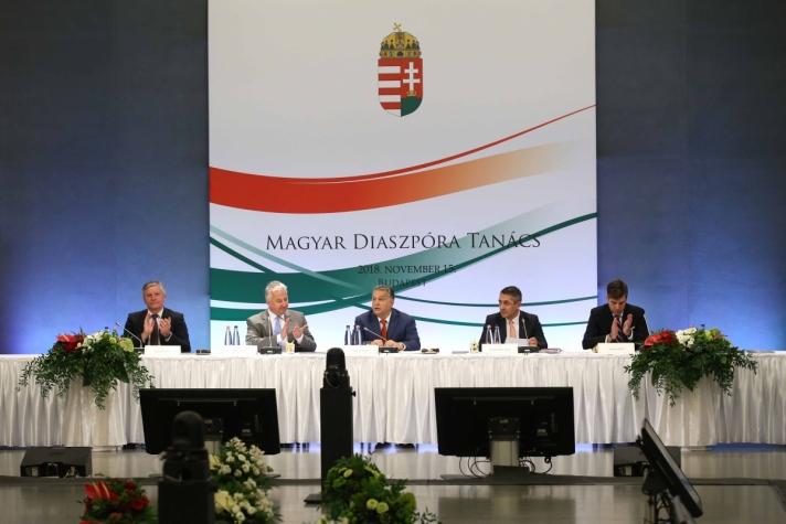Orbán Viktor miniszterelnök a Magyar Diaszpóra Tanács VIII. plenáris ülésén.