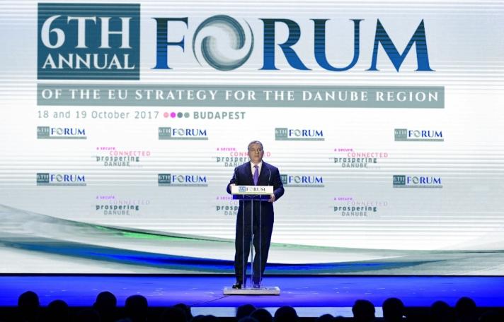 Orbán Viktor miniszterelnök szerdán Budapesten, a Duna Régió Stratégia 6. éves fórumát megnyitó beszédében.
