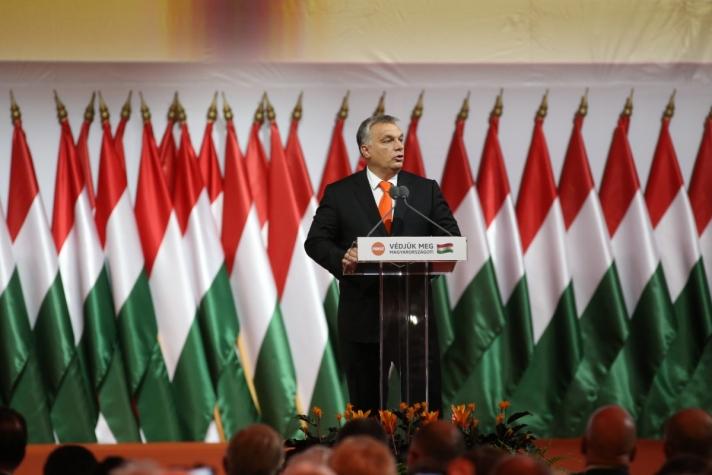 Orbán Viktor aFidesz XXVII., tisztújító kongresszusán.